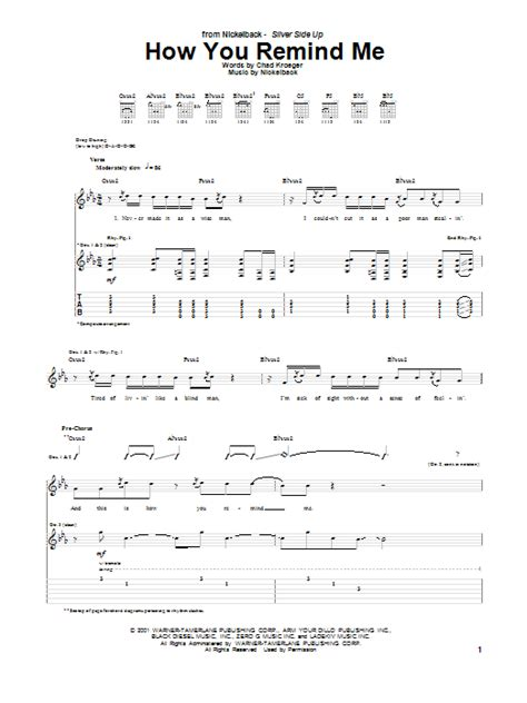 How You Remind Me Guitar Tab by Nickelback (Guitar Tab