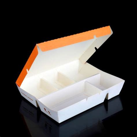 Take away disposable 4 compartment paper lunch box