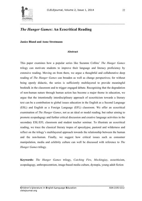 (PDF) The Hunger Games Trilogy: an Ecocritical Reading