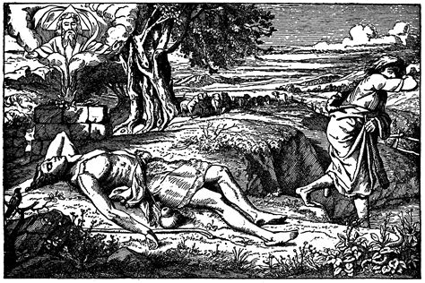 Cain and Abel- Cain Runs Away as Abel Lies Dead on the