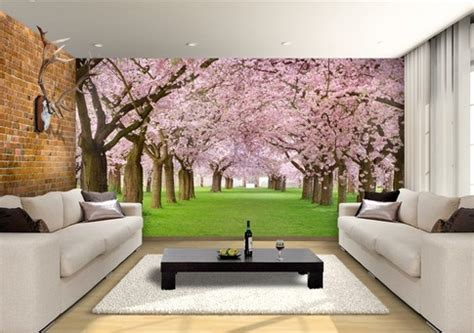 Cherry Blossom Trees Custom Wallpaper Mural Print by Jw