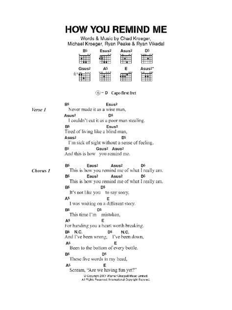 How You Remind Me Sheet Music | Nickelback | Guitar Chords