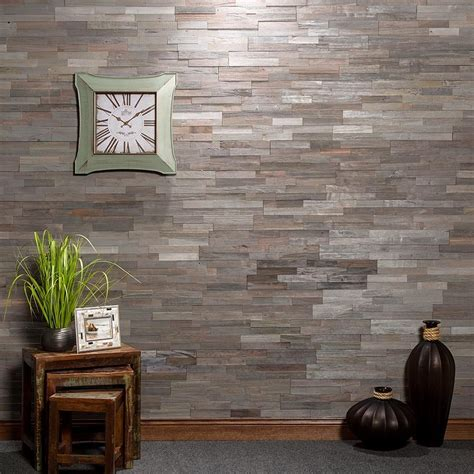 Aspect Peel and Stick Wood Tile in Weathered Barn
