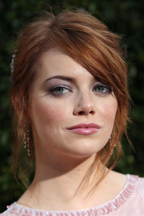 Emma Stone Wavy Ginger Face-Framing Pieces, Sideswept