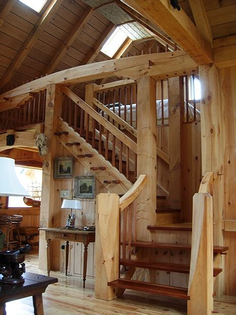 Post and Beam Great Room with Stone Hearth
