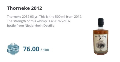 Thorneke 2012 - Ratings and reviews - Whiskybase