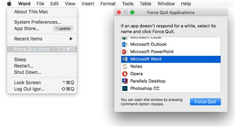 How to Force Quit MS Word App or Program on Mac