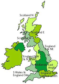 UK climate districts map - Met Office