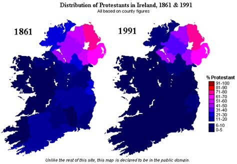 Changing Distribution of Protestants in Ireland 1861 - 1991