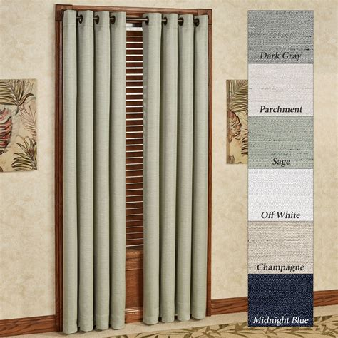 Grasscloth Grommet Curtain Panels with Weighted Corners