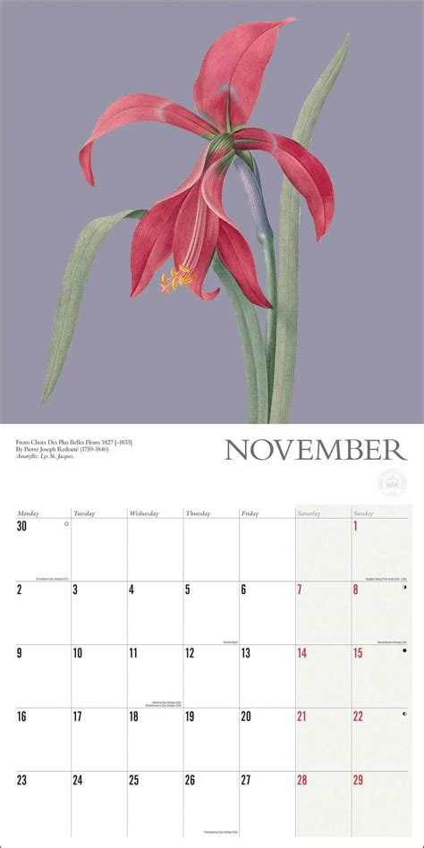 Royal Botanic Gardens Kew, Botanical Calendar 2020 at